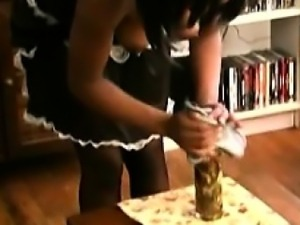 Beautiful ebony maid pleases her horny white master