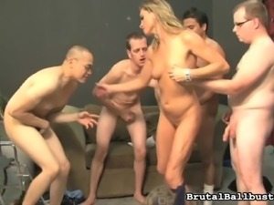 slut is gangbanged, while her husband watches