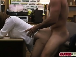 Busty Office Girl gets pawned inside