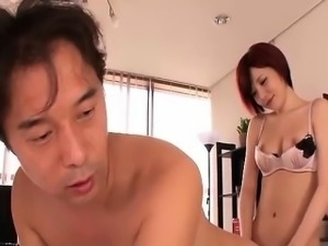 Subtitled Japanese futanari office anal sex and handjob