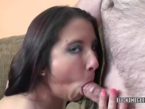Compact cutie Gianna Love is blowing a lucky geek