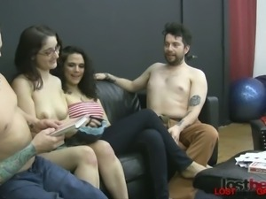 Two naughty couples play a sexy game