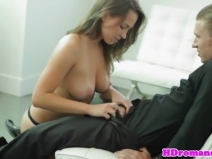 Classy babe lickingballs before riding cock