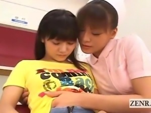 Subtitled Japanese lesbian nurse with aroused patient