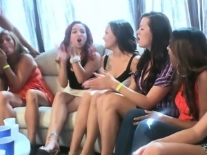 Clothed sluts deepthroat dick at party