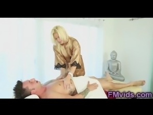Sexy blonde gives more than massage