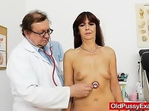 Lada the horny gramma got her hirsute pussy examined