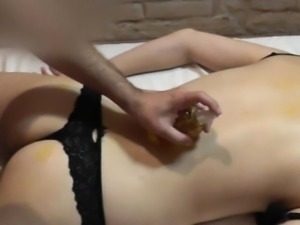 Sexy oil massage for shy casting girl