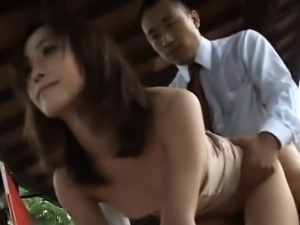 Japanese whore with massive juggs feels knob in wet snatch