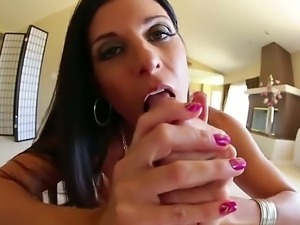 Black haired sexy MILF India Summer displays her small boobs as she gives...