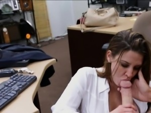 Huge boobs business woman screwed by pervert pawnkeeper