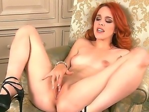 Red-haired babe Amarna Millere in black high heels is a naughty girl with...