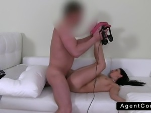 Brunette amateur handjob and fuck on casting