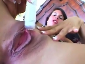 Stunning bikini babe plays with her cockstarving pussy