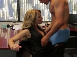 Beautiful MILF blonde Jessica Drake dressed in black is cock hungry. She...