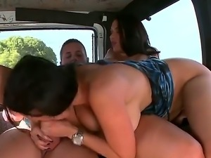 Two horny big titted porn stars Rachel Starr and Diamond Kitty make guy next...