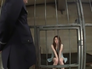 Hot Asian beauty likes gang bang in her jail cell