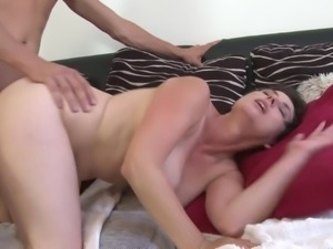 Hairy mature mom takes young son dick