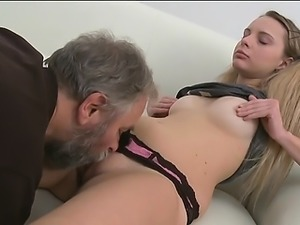 Beautiful young chick gets seduced by a slutty old fucker