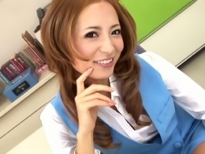 Redhead Asian sweetie Shiori Ayase gives some nice blowjob