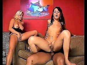 Latina shemale Fernanda has a butt banging threesome with a couple