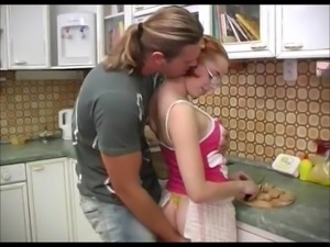 Pigtailed redhead Czech beauty Niky fucked in kitchen
