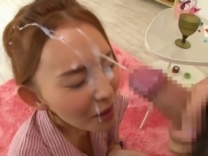 Daring Japanese teen gets a facial creampie in a wild bukkake party
