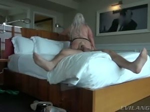 Thick and sexy mom with juicy jugs is doggy fucked