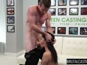 Sexy Kacey didn't expect to be mouth fucked during the casting, but that's...