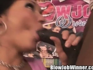 Claire Dames is joined by two striking babes for the perfect blowjob