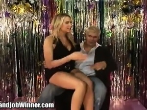 Dazzling blonde with big breasts Alanah Rae gives Jesus a helping hand