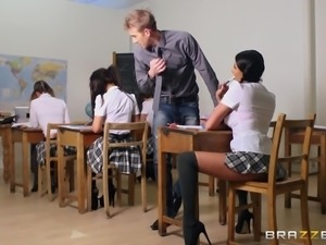 A very naughty college coed gives her teacher some pussy