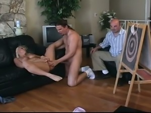 Poor cuckold is watching  his busty girl getting laid in front of him