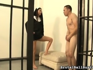 Kinky nun peels off clothes and works her ballbusting magic on a cock