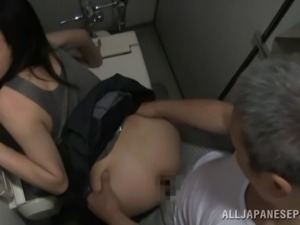 Mature Japanese pornstar getting fucked doggy style by a horny old guy in the...
