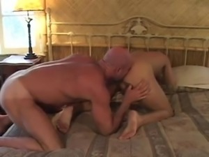Gay bear with his lover sucking his dick and getting his ass