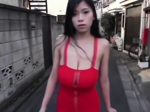 Skinny asian with giant tits