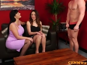 Busty cfnm milf jerking off hard cock