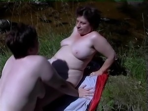 Mature chubby lesbians are into a wild dildo insertion
