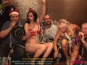 NEW YEAR PARTY Euro MILFs on swinger gang-bang