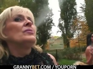 Old granny prostitute rides big meat
