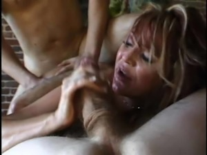 Angelic fake tits doll having her oiled anal fingered in mmf porn