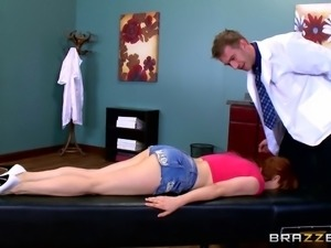 Huge dick doctor ass fucks his voluptuous redheaded patient