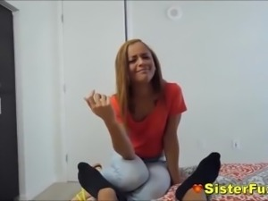 Teen Sister Catches Stepbro Wanking But Joins Him Very Taboo