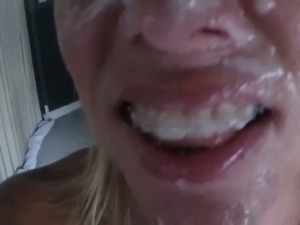 Filthy blonde whore gets her face covered in jizz in amateur video