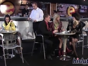 Hot threesome session in a bar