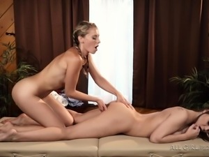 You can see the passion between these super sexy babes, as they grind their...