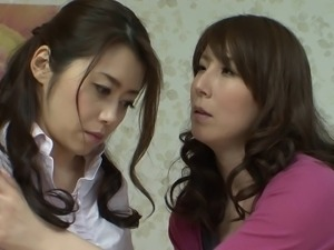 Japanese housewife seduced into beautiful lesbian sex