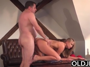 Grandpa fucks beautiful young girlfriend pussy mouthful of cum