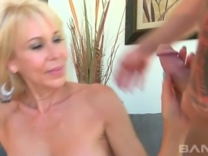 Young horny stud fucks busty aged blondie Erica Lauren in mish and sideways...